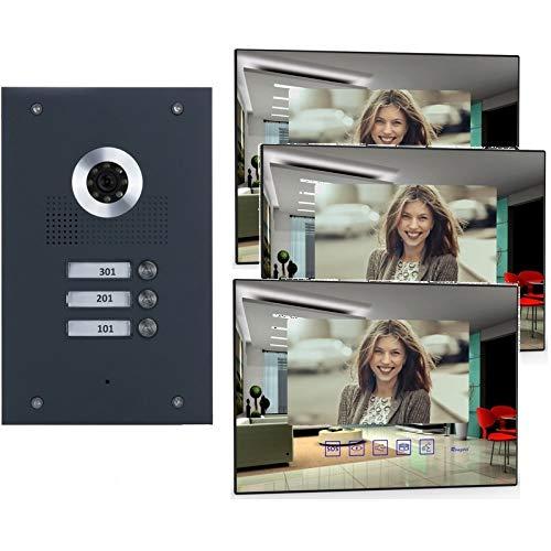 3-Familienhaus Video-Türsprechanlage mit Kamera, Monitor spiegel (Frontblende in Edelstahl RAL 7016 Anthrazit), Fischaugenkamera 170 Grad