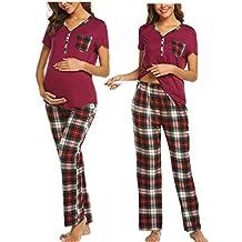 cb897336b MAXMODA Ropa Premamá Lactancia Pijama Conjunto Maternidad Primavera Pijama  Premamá Embarazo El ...