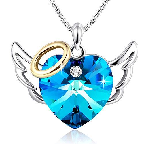 Haoda❤️Liebes Engel❤️Herz Anhänger Halskette Frauen Schmuck Geburtstag Geschenke für Freundin Mama Tochter, Blue Crystals von Swarovski - Die Engel Box Haben Blue Die