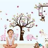 Mddjj Neueste Xxl Cartoon Tiere Zoo Eule Schmetterling Affe Wandaufkleber Für Kinderzimmer Wohnkultur Bunte Baum Aufkleber Stick Auf Wand