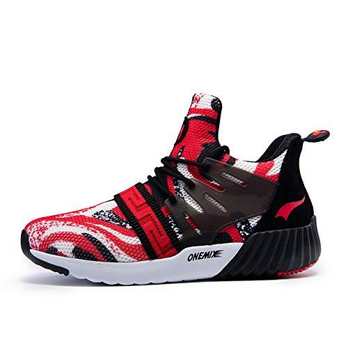 Onemix Air Uomo Scarpe da Ginnastica Corsa Sportive Running Sneakers Fitness Interior Casual all'Aperto Red Black