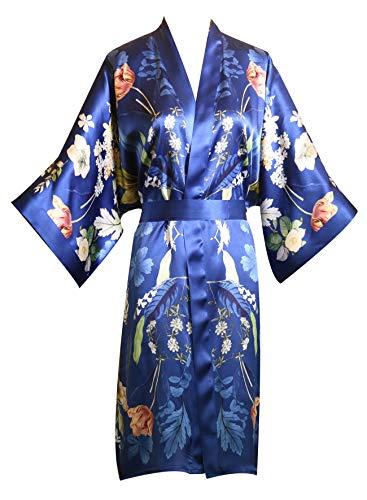 prettystern Damen Knie-lang Seide Kimono Wickel-Kleid Morgenmantel Robe Floral Print Blau Sommer-Garten K09 -