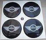 Mini Flügel 50mm schwarz Tuning Effekt 3d 3m geharzt Radkappen Cooper Nieten Caps Aufkleber Stickers für Alufelgen X 4Stück