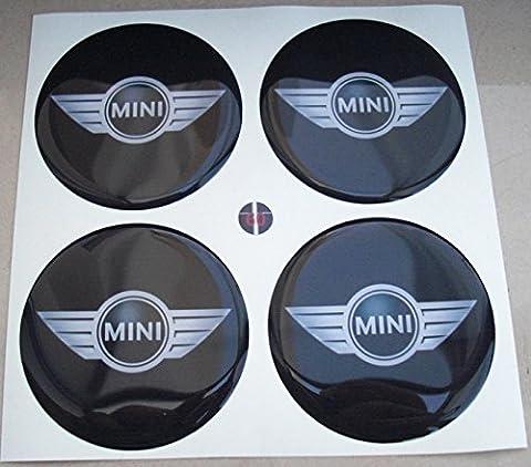 Mini Flügel 50mm schwarz Tuning Effekt 3d 3m geharzt Radkappen Mini Cooper S One Nieten Caps Aufkleber Stickers für Alufelgen X 4Stück