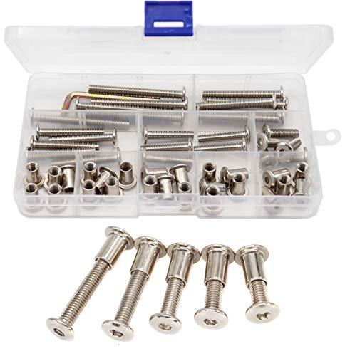 binifiMux Sechskantkopfschraube und Zylindermutter, M6 x 20 mm, M6 x 30 mm, M6 x 40 mm, M6 x 50 mm, M6 x 60 mm, 25 Stück
