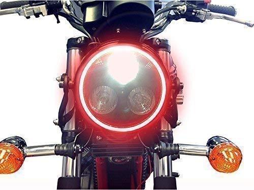 Universal Schwarz Metall 3 Augen Led Scheinwerfer für Motorrad Motorrad- mit Integriertem Rot Led Angel Eye Ring