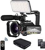 Camcorder 4k Video Kameraa, ORDRO Videokamera HD 1080P 60FPS Vlog Kamera IR Nachtsicht WiFi Camcorder mit Mikrofon, LED Licht, Weitwinkelobjektiv, Halter, Tragetasche
