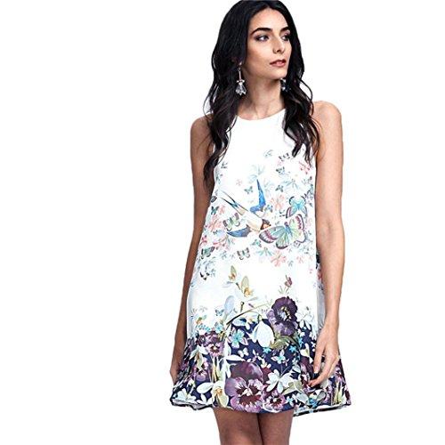 Elecenty Damen Ärmellos Sommerkleid Minikleid Strandkleid Partykleid Rundhals Rock Mädchen Blumen Drucken Kleider Frauen Mode Kleid Kurz Hemdkleid Blusekleid Kleidung (M, Weiß)