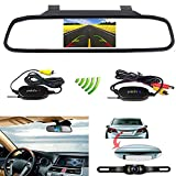"Podofo® Wireless Car Backup Camera with 4.3"" TFT LCD RearView Mirror Monitor Reverse"