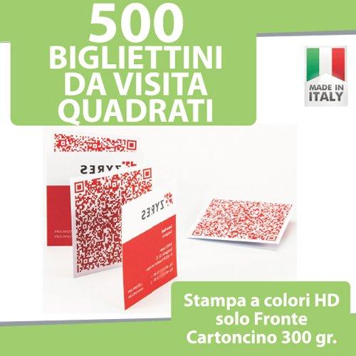 500 BIGLIETTI DA VISITA QUADRATI Bigliettini STAMPA solo FRONTE a COLORI personalizzati printerland.it
