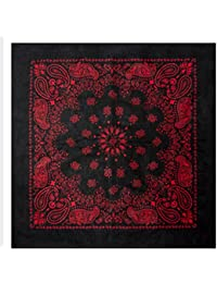 Large Black Cotton Square Bandana Scarf Round Western RED PAISLEY 27 inch