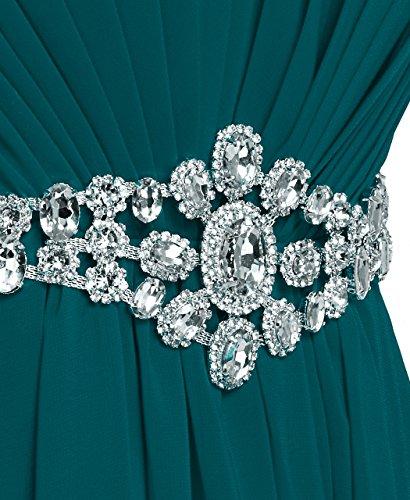 Fashion Plaza chiffon lange Trägerlosen Abendkleid mit einer schönen Gürtel Modul D004 Grün