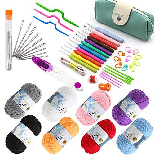 BEMEI Agujas Crochet 57 Piezas Accesorios para Herramientas de Tejer con Agarre Suave ergonómico para Principiantes