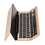 Wirelee Folding Keyboar Tastiera Portatile Bluetooth con Supporto retroilluminazione Tascabile per PC Laptop Tablet Smartphone (Color : Gold)