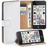 moex iPhone 4S | Hülle Weiß mit Karten-Fach 360° Book Klapp-Hülle Handytasche Kunst-Leder Handyhülle für iPhone 4/4S Case Flip Cover Schutzhülle Tasche