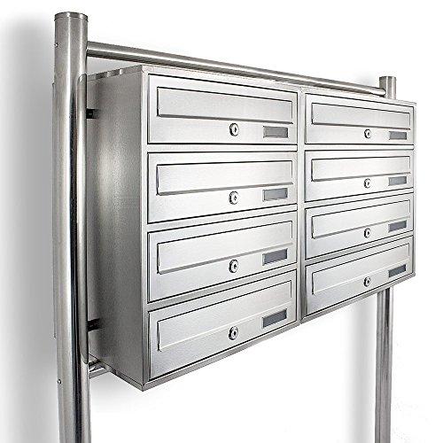 Edelstahl Stand-Briefkastenanlage Postkasten Letterbox Mailbox Doppelt mit 8 Fächer