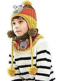 9c1cc2e23d2 COMVIP 2PCS Enfant Unisexe Bonnet Tricot Motif Ours Mignon et Écharpe  Ensemble Hiver Chaud