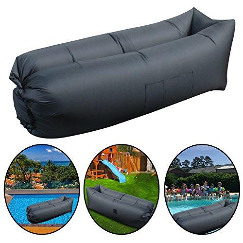 Aufblasbare Liege, Luftmatratze/Stuhl, beständig und tragbar, Liegestuhl für innen, außen, Camping, Strand, für die meisten Erwachsenen, schwarz