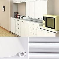 Auralum® 5x0.61 M PVC Küchenschrank-Aufkleber Selbstklebend Küchenfolie Klebefolie Schrankfolie Deko Tapeten Rollen für Küchenschränke Möbel ,Weiß