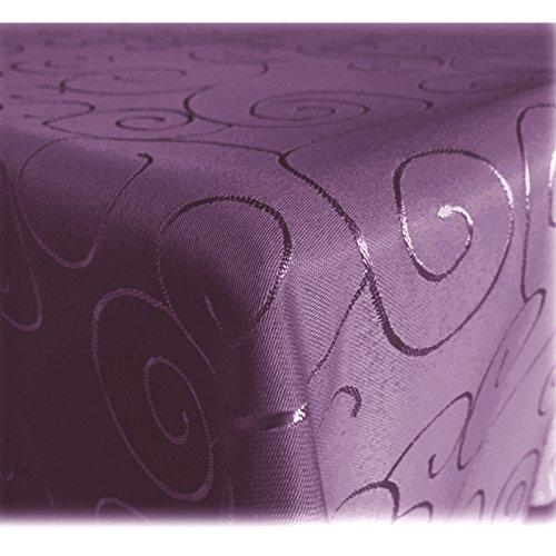 JEMIDI Tischdecke Ornamente Seidenglanz Edel Tisch Decke Tafeldecke 31 Größen und 7 Farben Lila...