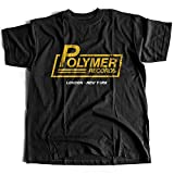 9297 Polymer Records Mens T-Shirt Retro Vintage Spinal Rock Guitar Tap Shop This Label Drums Is And Bass Scene Classic(XX-Large,Black)
