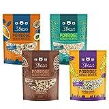 3Bears Porridge fabelhaftes 4er-Mischpaket - (4 x 400g) Feiner Kakao Fruchtige Kokosnuss Mohnige Banane Kerniger Klassiker Viel Frucht Overnight Oats Haferflocken