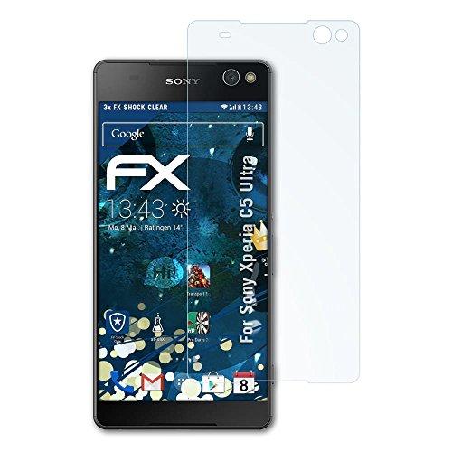 atFolix Schutzfolie kompatibel mit Sony Xperia C5 Ultra Panzerfolie, ultraklare & stoßdämpfende FX Folie (3X)