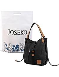 JOSEKO Canvas Tasche, Damen Rucksack Handtasche Vintage Umhängentasche Segeltuch Hobotasche für Alltag Büro Schule Reise