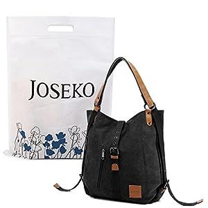 Canvas Shoulder Bag Ladies Rucksack Vintage Handbags, JOSEKO Tote Convertible Backpack Bag Multifunctional for Work…