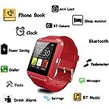 U8Bluetooth inteligente reloj teléfono, Koiiko 1.48-inch pantalla táctil reloj de pulsera teléfono con manos libres llamada, realizar llamadas Recordatorio, reloj, disparador remoto, podómetro para IOS Android Y Otros Dispositivos Bluetooth, 0.22 pounds, color rosso