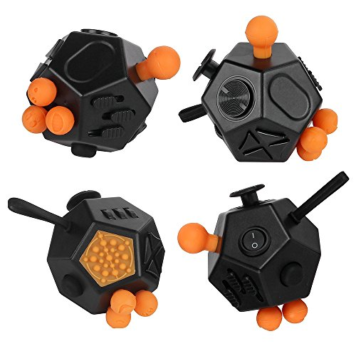 JouerNow Fidget Cube II Anxiety Stress Relief Focus 12 side Dice Kid Toy Gifts Black