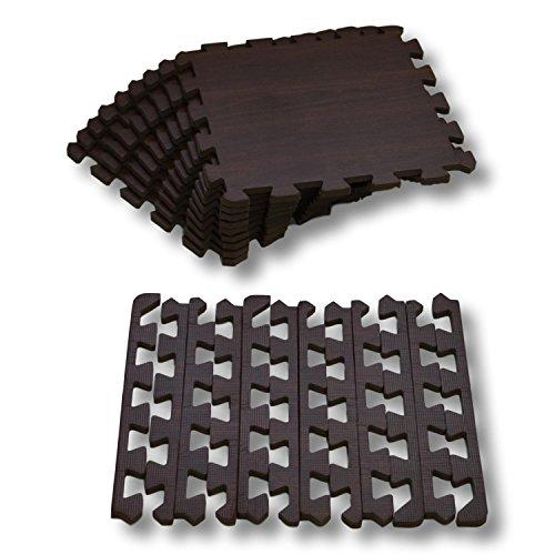 Alfombra puzle de Goma EVA para niños. Medida Total: 93 x 93 x 1 cm. con Bordes Lisos. Madera Color Wengué / Nogal.