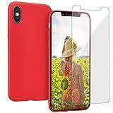 Coque pour iPhone XS / X ProBien,Silicone Ultra Fine Housse avec Verre Trempé Gratuit Case Anti-rayures Protection Complète Cover Mince Léger Étui de iPhone X / XS - Rouge