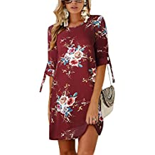 3af80e88389 Udgwaz Damen Kleid Lose 3 4 Ärmel Druckkleid Tunika Sommerkleider Blumen  Minikleid