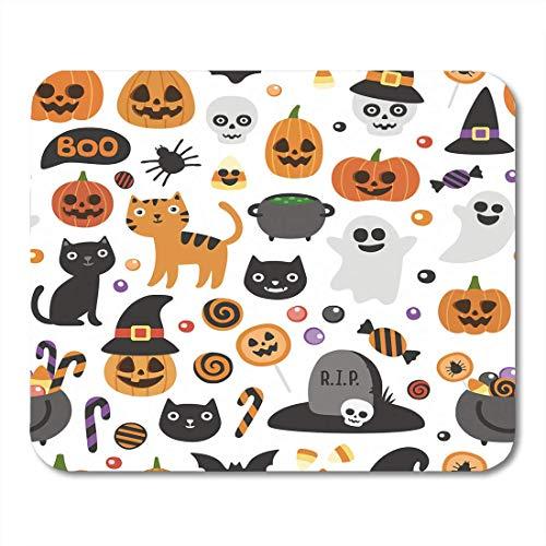ange Herbst-niedliches Halloween-Muster-Kürbis-Geist-Katzen-Schläger-Süßigkeitsglas auf Besen Mousepad für Laptop, Tischrechner-Zusatz-Minibüroartikel Mauspads ()