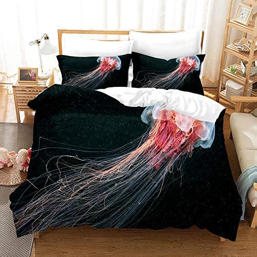 Doulaiqiao Bettbezug DruckenBettwäschesetQuallenBettwäscheset Realistische Bettwäsche Kissenbezug Bett Heimtextilien Tiwn Queen King Size