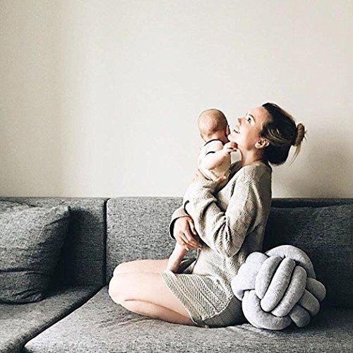 sunnymi Bett Sofa Knoten Ball Kissen Mode ,Throw Pillow Plüsch Spielzeug,Samt + Baumwolle (Grau, 27cm)
