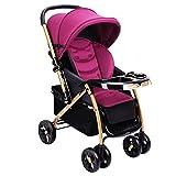 ZXLDP Kinderwägen Hochlandschaft Baby-Spaziergänger/kann sitzen oder liegen gefaltet Baby Multifunktions-Zwei-Wege-Vierrad-Trolley (2 Farben) Prams (Farbe : Lila)