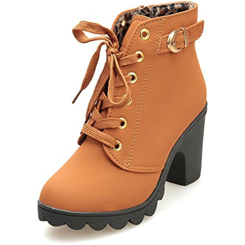 MORCHAN Femmes Mode Talon Chaussures Haut lacées Bottines Femmes Boucle Chaussures Talon Plate-Forme - B07KG22QMN - 72d2a5