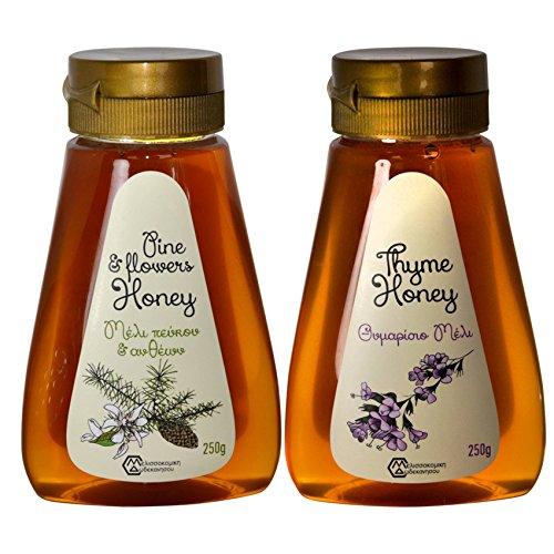 2 x Thymian und Pinien und Blüten Honig von Rhodos 250 g PET-Drückflasche (Griechischer Reiner Honig)