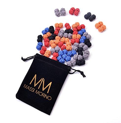 MASSI MORINO Seidenknoten im mehrfarbigen 5 Paar - Set, Manschettenknöpfe aus 100% dehnbarer Seide inkl. edlem Geschenkbeutel