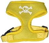 Mirage Pet Products Hundegeschirr, aus weichem Netzgewebe, Motiv Totenkopf, gekreuzte Knochen, klein, Gelb