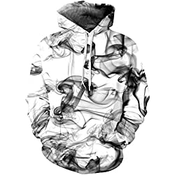 Loveternal Unisex Tinta China Hoodies Estampado 3D Hipster Hip Hop Pullover Sudadera con Capucha para Pareja Juniors L/XL