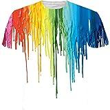 Baumwoll-T-Shirt Herren Multi Color 3D Regenbogen Druck T Shirts Shirt Tops,Mehrfarbig,L