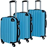 Monzana® Hartenschalenkoffer Set Trolley Reisekoffer Rollkoffer ✔ABS-Gehäuse ✔ PC beschichtet ✔4fach Kantenschutz-genietet ✔Alu-Teleskopgriff ✔360° Zwillingsrollen blau