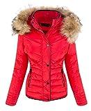 Designer Damen Winter Jacke Steppjacke Parka Kurzjacke Mantel Outdoor Jacke gestepp Winterjacken Kapuze Kunstfell Warm Gefüttert D-405 Rot S