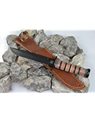 MFH Kampfmesser Usmc Griff Aus Lederringen Lederscheide, schwarz