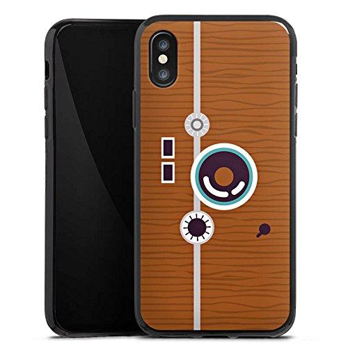 Apple iPhone X Silikon Hülle Case Schutzhülle Foto Retro Fotograf Silikon Case schwarz