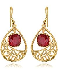 Spargz Red Color Synthetics Stone Gold Plating Dangle & Drop Hook Earrings For Women AIER 627