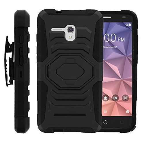 turtlearmor | Alcatel One Touch Fierce XL Schutzhülle | Alcatel Flint Case [Octo Guard] Dual Layer Holster Schutzhülle Gürtelclip Stabile Ständer Cover -, Schwarz - Alcatel Camo Touch One